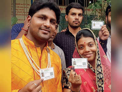 Before taking diksha, couple cast their vote