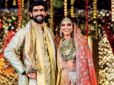 Rana Daggubati and Miheeka Bajaj colour coordinate in cream and gold for wedding