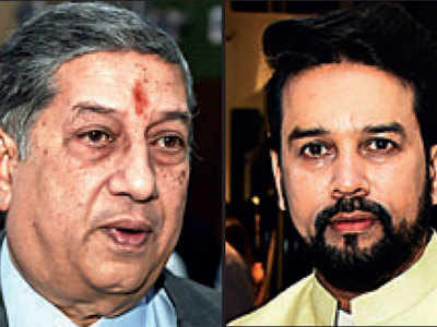 N Srinivasan, Anurag Thakur come together at Mumbai meet