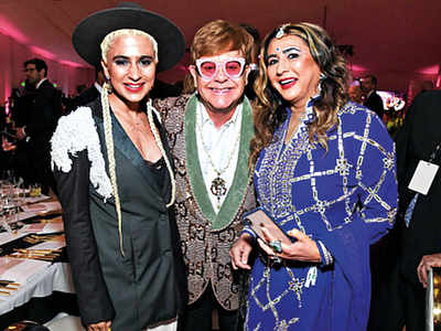 New York-based socialite Meera Gandhi attends Sir Elton John's Oscar Viewing Party