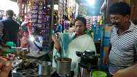 West Bengal CM Mamata Banerjee visits a roadside tea stall, makes tea