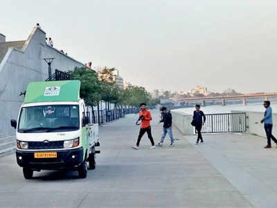 Speeding vehicles take over Sabarmati riverfront's pedestrian zone