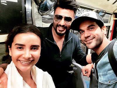 Arjun Kapoor, Rajkummar Rao and Patralekhaa on flight mode