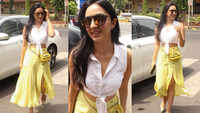 Kiara Advani sets summer trend in knotted white top and yellow polka dot slit skirt