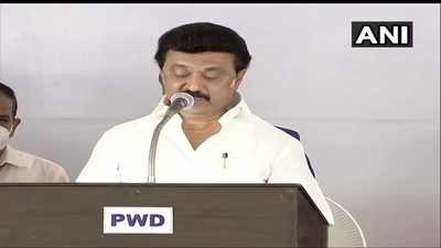 M K Stalin swearing-in ceremony live updates: DMK president along with 33 others takes oath