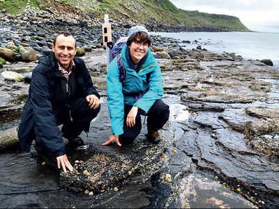 Fossil footprints on Scottish island reveal dinosaur parade ground