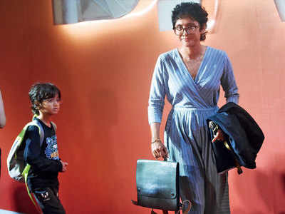 Kiran Rao attends a Canadian theatrical group with her son Azad in Mumbai