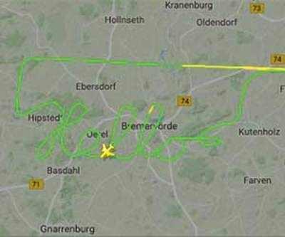 Plane talk: German pilot uses plane to draw 'hello' on tracking map