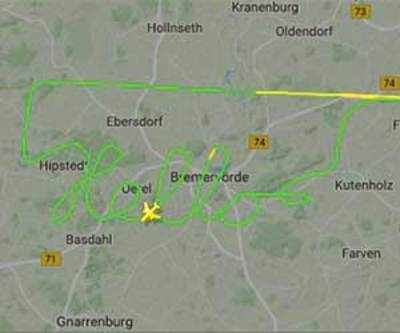 Plane talk: German pilot uses plane to draw 'hello' on tracking map