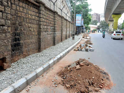Footpath work not ready for Bengaluru's rains