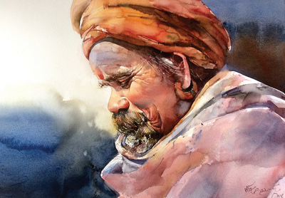 Artist Narayan Bahadur Gurung doesn't paint only for a living; he paints also to spread happiness