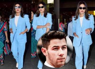 Feeling blue: Priyanka Chopra is back in the bay sans husband Nick Jonas after announcing another music video collab