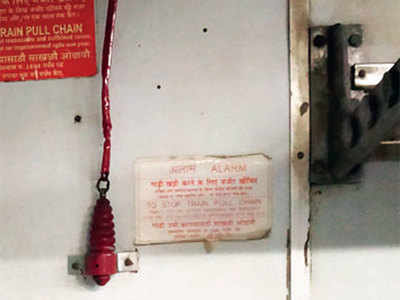 Central Railway trains getting delayed as passengers mistake new alarm for luggage hooks, hang bags on chains