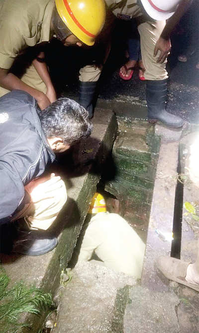 Youth plunges into drain due to broken slab