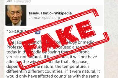 Fake alert: Japanese Nobel Prize winner did not claim coronavirus was manufactured in China