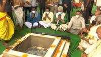 Jammu: L-G Manoj Sinha performs 'Bhoomi Pujan' of Venkateswara Swamy temple