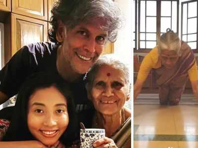 Watch: Milind Soman's mom celebrates 81st birthday with 15 push-ups