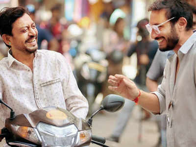 Homi Adajania and Irrfan Khan share a laugh on the sets of Angrezi Medium