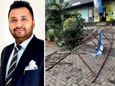 Juhu bizman critically hurt as scaffolding collapses on him