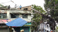 Kolkata: Rooftop shade collapses on power cables after heavy downpour