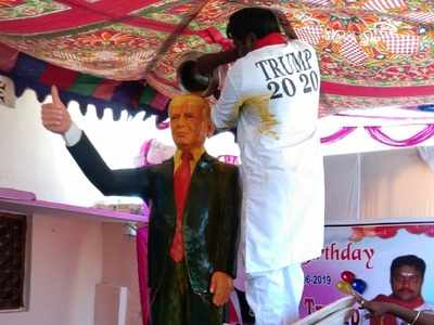 Man worships Donald Trump in Telangana, erects statue