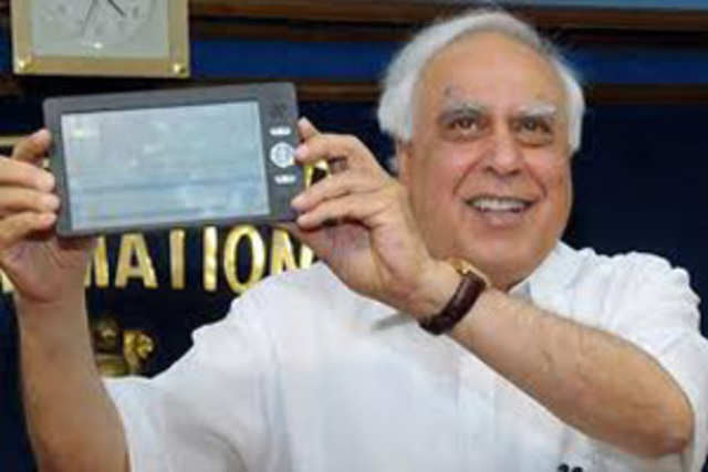 The prototype of the low-cost computing device  which HRD Minister Kapil Sibal had unveiled in July last year