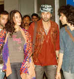 Nargis, Ranbir at airport