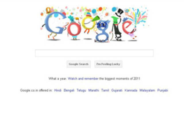 googles last doodle of the year 2011 carries happy new year wishes for search giants millions