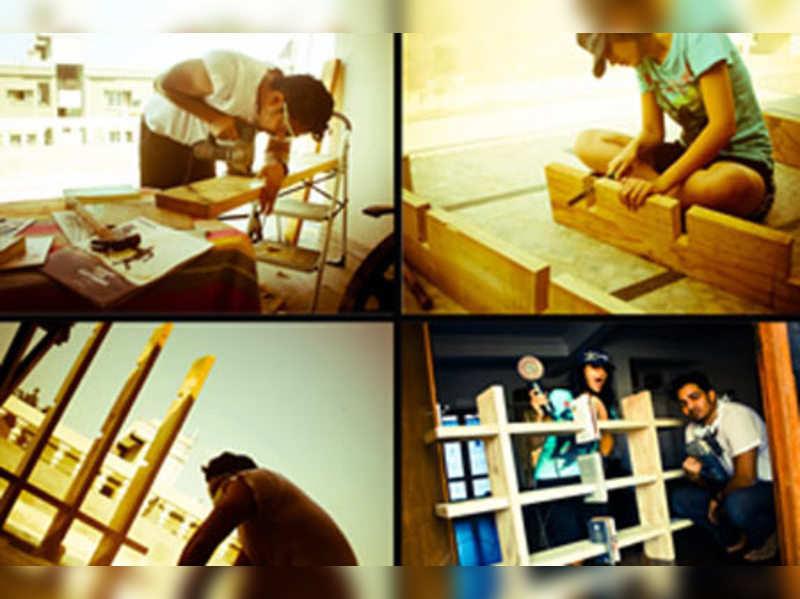 Harshvardhan, Deeksha design a wooden shelf