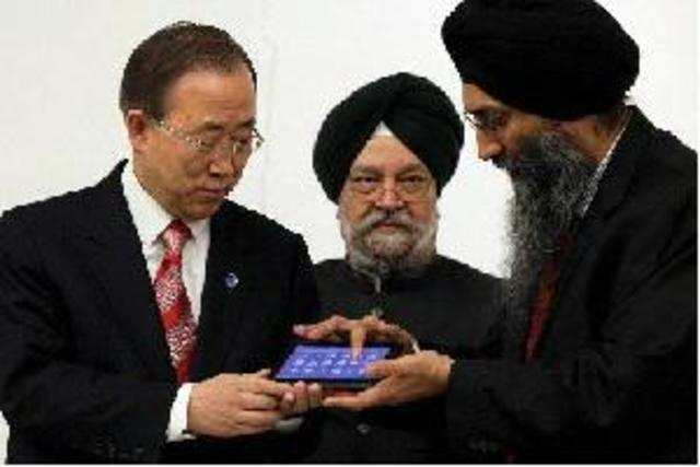 """UN Secretary General Ban Ki-moon praised India as a """"super-power"""" in the field of information technology as he unveiled the country's first indigenously created low-cost Aakash 2 tablet here."""