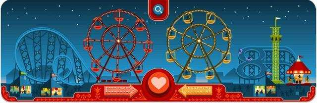 Google celebrates Valentine's Day and 154th birthday of George Ferris with an animated and colorful doodle.