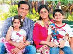 Cricketer VVS Laxman with wife Sailaja, daughter Achinta and son Sarvajit