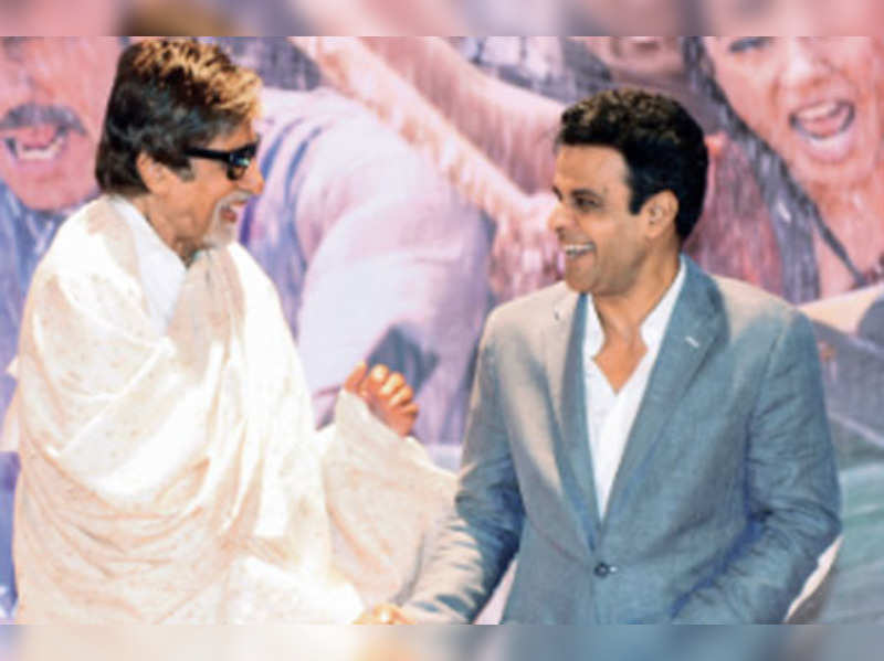 Amitabh Bachchan and Manoj Bajpai at the trailer launch of Satyagraha in Mumbai