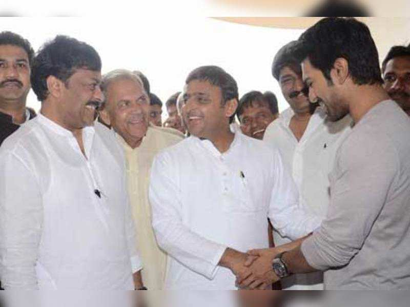 Akhilesh Yadav meets, Chiranjeevi, Ram Charan