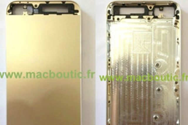 French tech website Macboutic has leaked images of the back panel of the iPhone 5S in gold colour.  Image courtesy: Macboutic