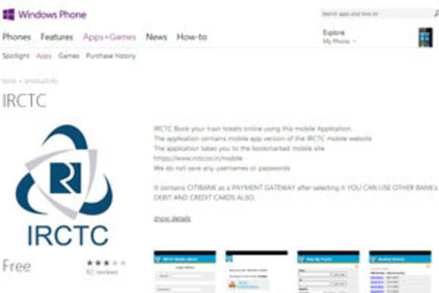 IRCTC: IRCTC launches Windows Phone app for e-ticketing