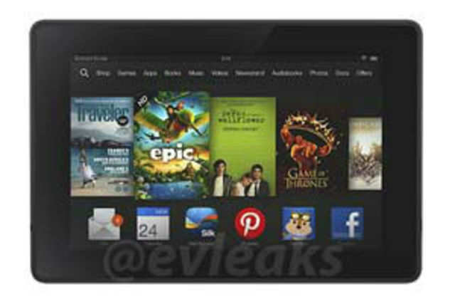 An image of the upcoming Kindle Fire tablet has leaked online by Twitter user EVLeaks, who has given many accurate leaks in the past. Image courtest: EVLeaks