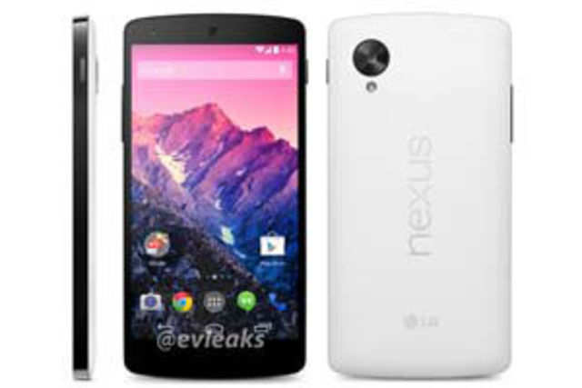 Press shots of Google's Nexus 5 smartphone have leaked online, showing multiple colour options and revealing its launch date. Image courtesy: EVLeaks