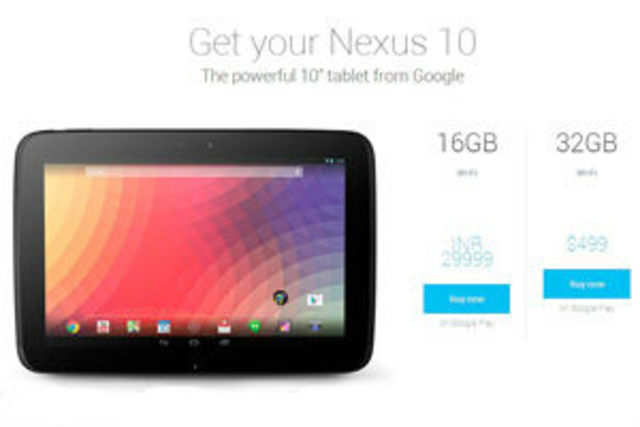 Google has listed the price of its Nexus 10 tablet on the Play Store at Rs 29,999 for the 16GB model.