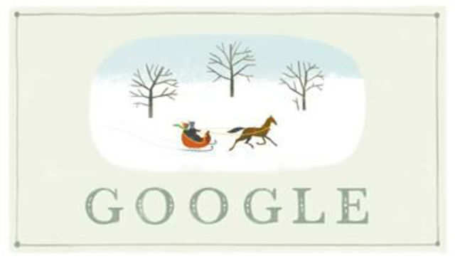 This year's 'happy holidays'doodle showcases two children riding on a sleigh in the snow run by a horse.