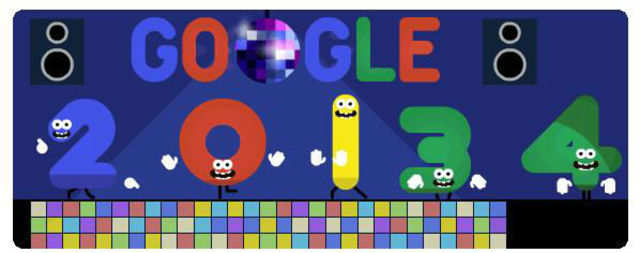 Google, on Tuesday, displayed an animated New Year's Eve 2013 doodle on its homepage to bid adieu to the year and wish Happy New Year.