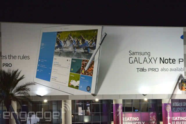 Samsung has put up banners of the Galaxy Note Pro and Galaxy Tab Pro at its Consumer Electronics Show stall.  Image courtesy: Engadget