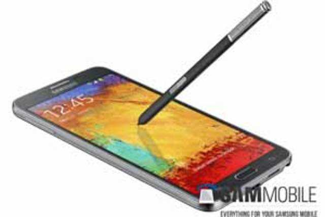 The device appears similar to Galaxy Note 3, complete with the faux-leather back cover and the new S-Pen stylus. (Image courtesy: SamMobile)