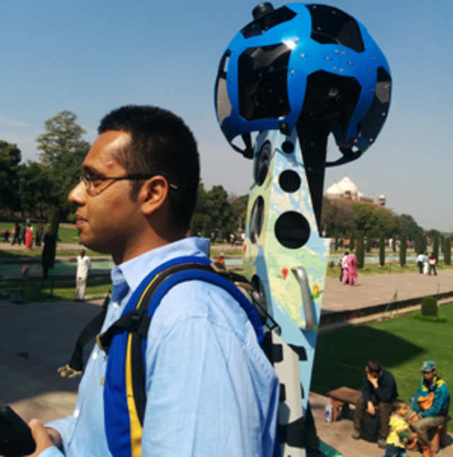 The trekker is a machine that a volunteer or a Google employee can wear like a backpack. It has cameras that take photos while the user is walking around the monument. These photos are later stitched together to create a panoramic view of the monument.