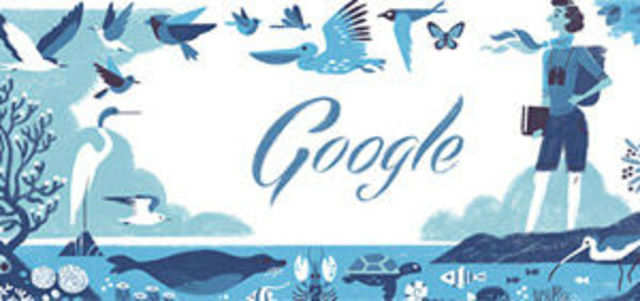 Google celebrates American marine biologist Rachel Louise Carson's 107th birthday with a doodle.