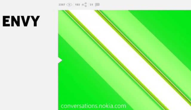 """Head over to the Nokia Conversations blog and you'll spy a cryptic post sporting a teasing green countdown timer and the simple headline """"Green with envy."""""""