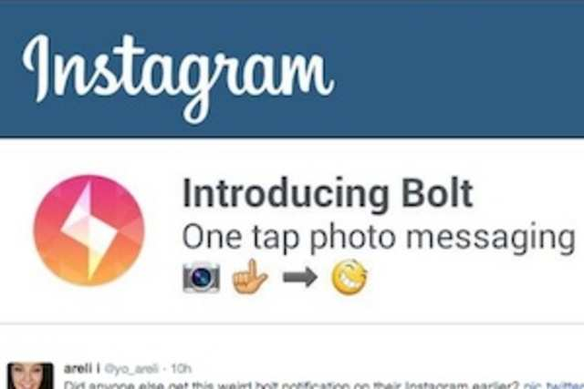 "A handful of Instagram users are reportedly seeing banner ads for a ""One tap photo messaging"" app called ""Bolt."""