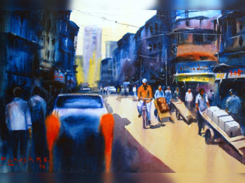 Cityscapes captured in acrylic colours