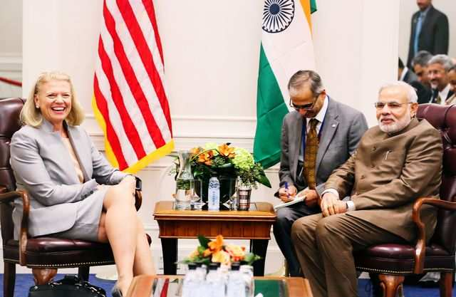 The CEO of IBM, Virginia Romnetty, discussed software for India's projects like 'Smart Cities' and 'Digital India' during her meeting with PM Narendra Modi.