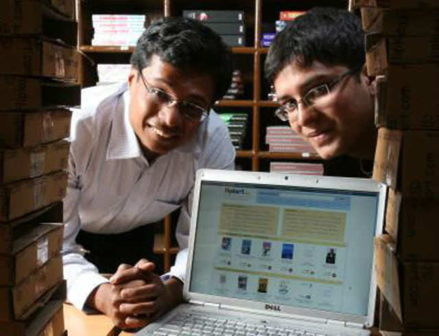 Sachin Bansal with Binny Bansal, co-founders of Flipkart, at their office in Bangalore. (Getty Images file photo)